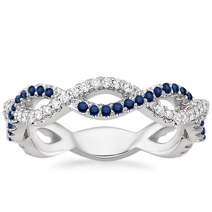 18K White Gold Eternal Twist Diamond and Sapphire Ring, top view