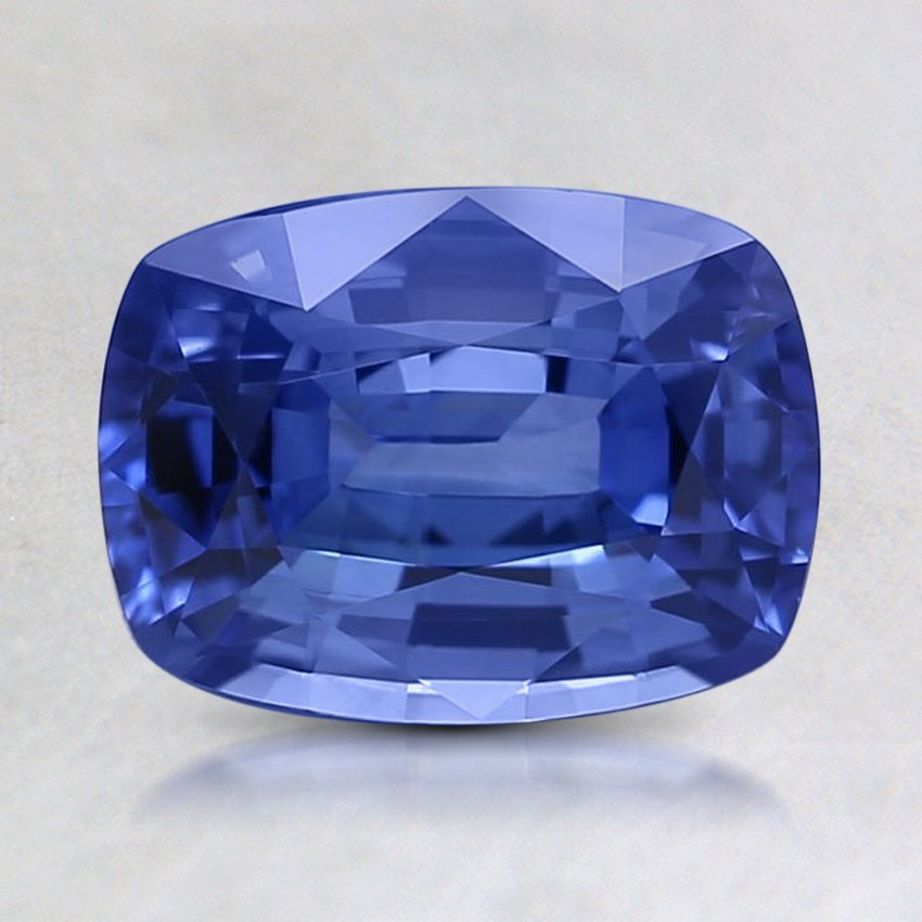 8x6mm Blue Cushion Sapphire, top view