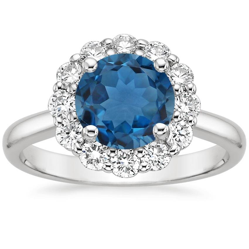 london blue topaz lotus flower ring in 18k white gold. Black Bedroom Furniture Sets. Home Design Ideas