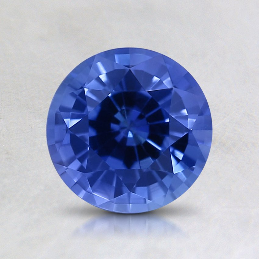 6.5mm Blue Round Sapphire, top view