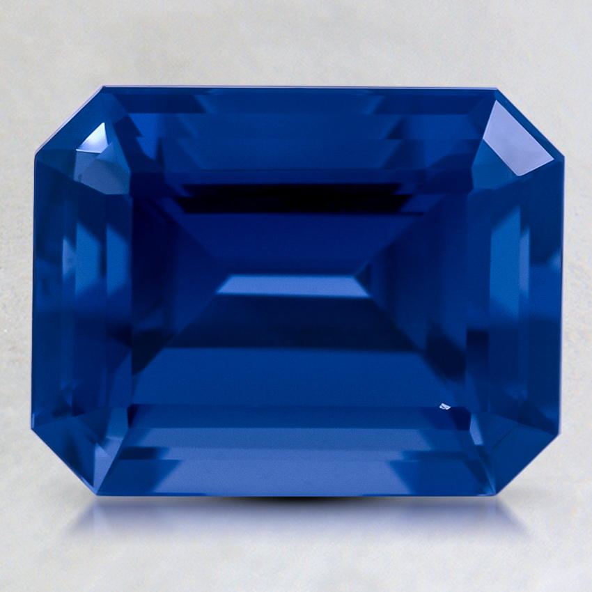9x7mm Lab Created Blue Emerald Cut Sapphire, top view