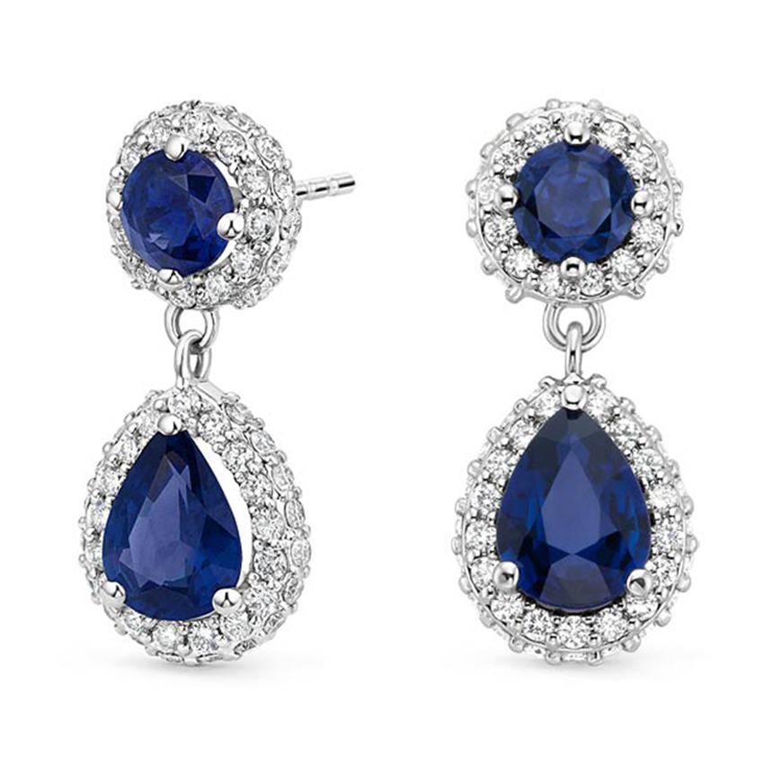 Moonlight Sapphire and Diamond Earrings in 18K White Gold