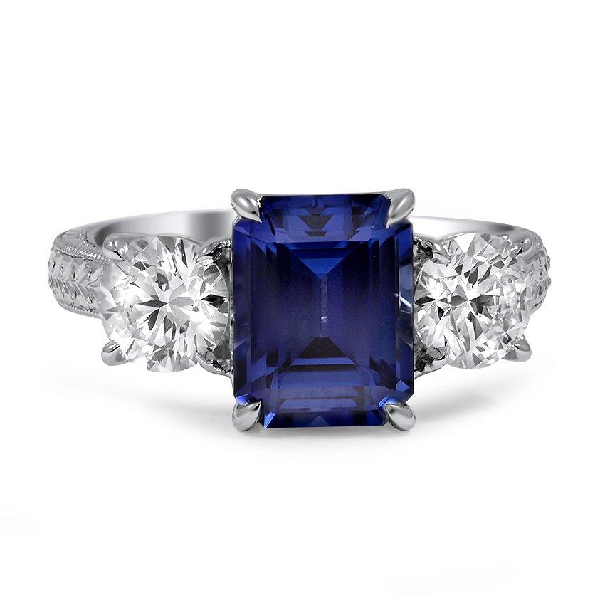Custom Emerald Cut Sapphire Three Stone Ring Brilliant Earth