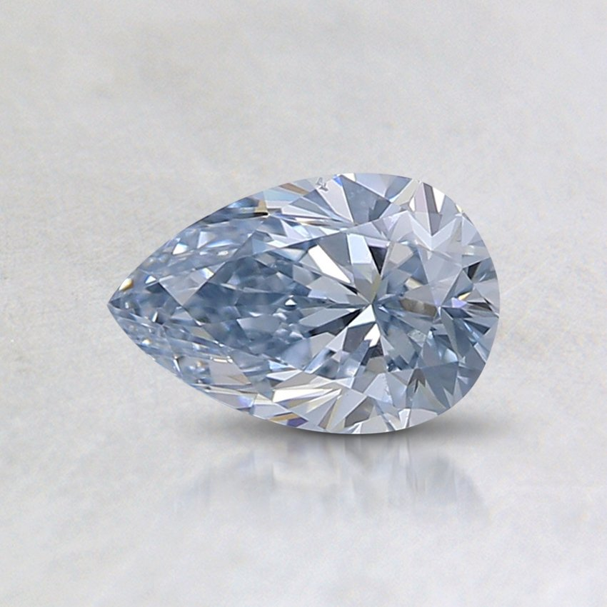 0.47 Ct. Lab Created Light Blue Pear Diamond, top view