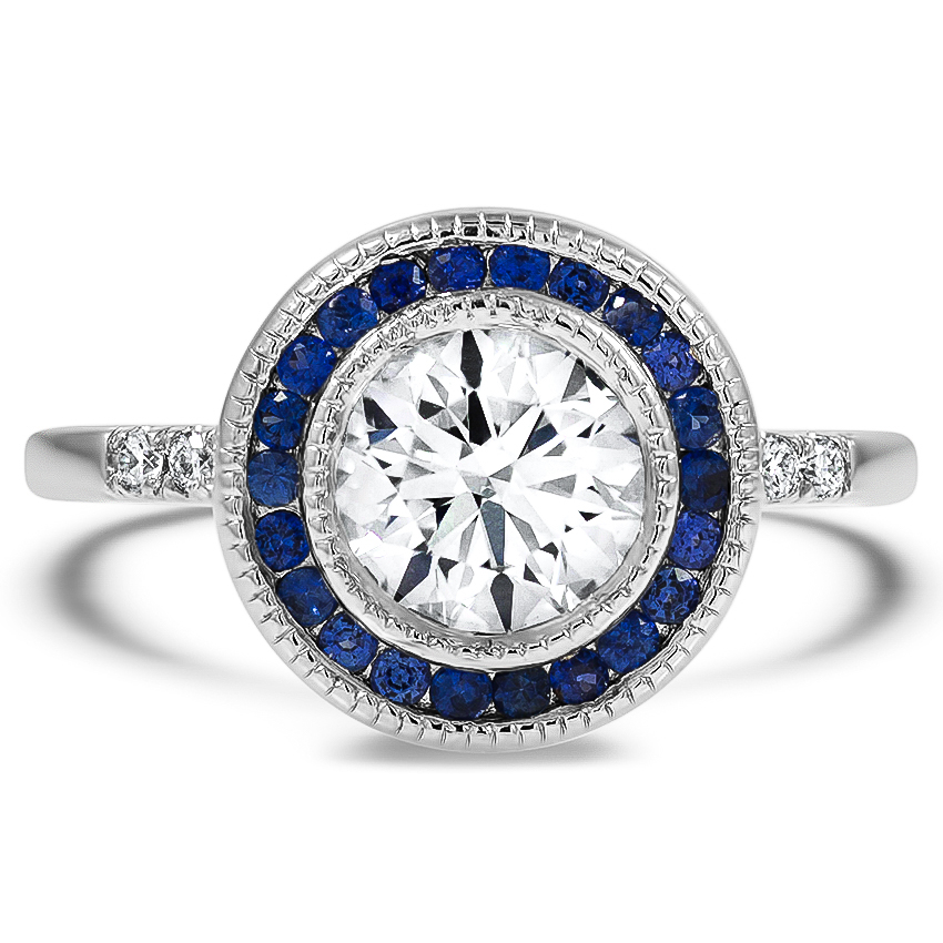 Custom Bezel Halo Sapphire and Diamond Ring