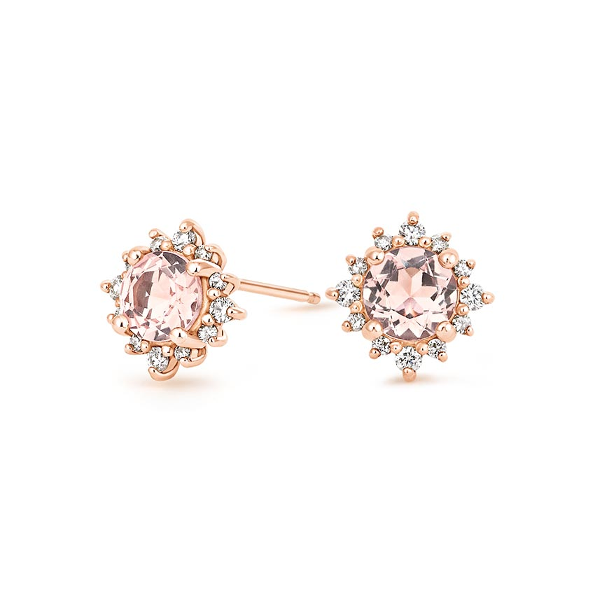 Unique Morganite Halo Earrings