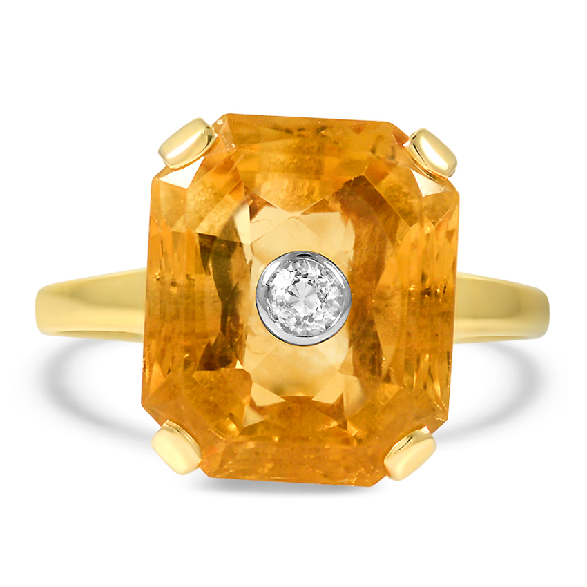 Art Deco Citrine Cocktail Ring