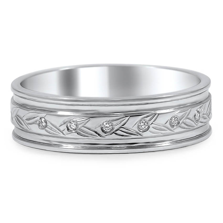 Custom Leaf Engraved Wedding Band with Diamond Accents
