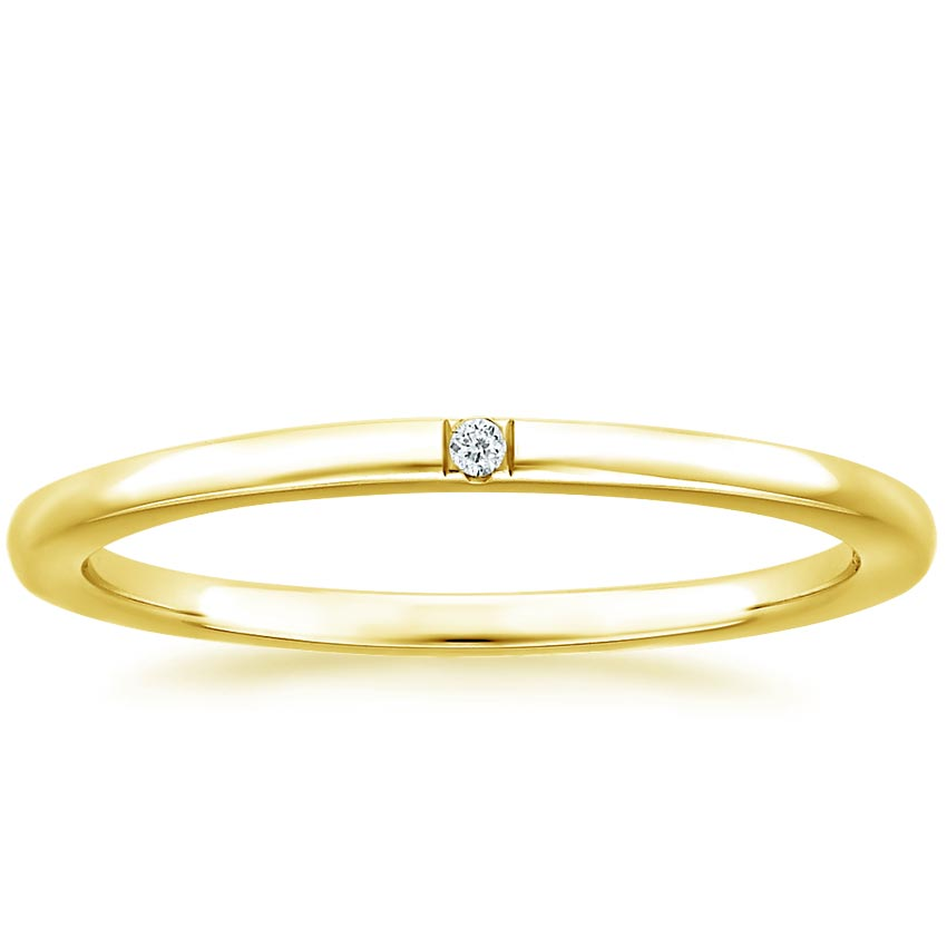 Yellow Gold Single Diamond Wedding Ring