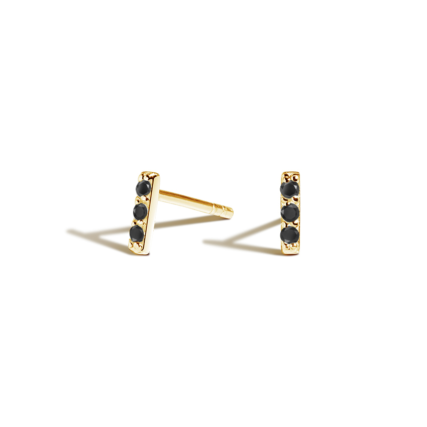 Pave Bar Black Diamond Earrings