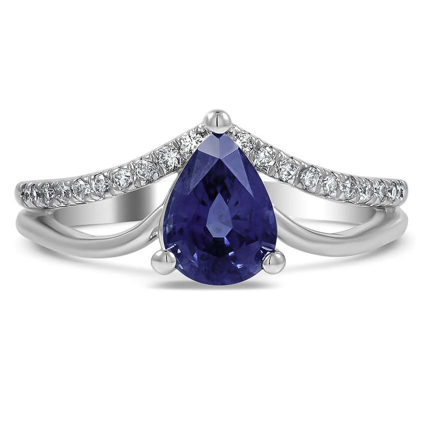 Custom Double Band Chevron Sapphire Ring
