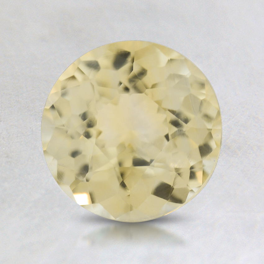 7mm Light Yellow Round Sapphire, top view
