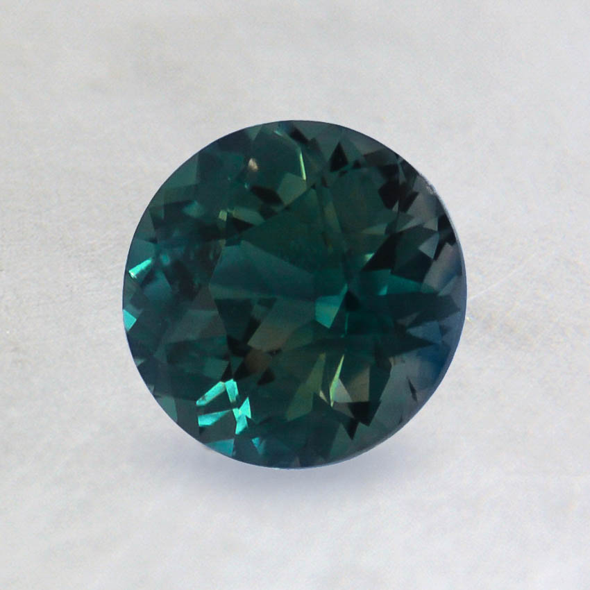 6mm Premium Dark Teal Round Sapphire, top view