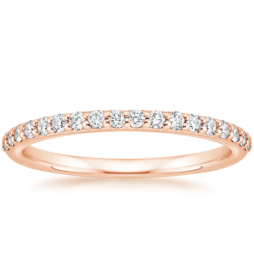 Wedding Band Women: Petite Shared Prong Diamond Ring (1/4 Ct. Tw.) In 14K Rose