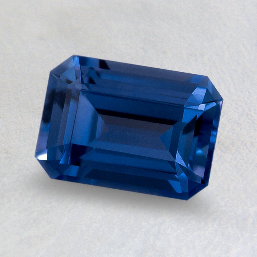 7x5mm Blue Emerald Cut Sapphire, top view