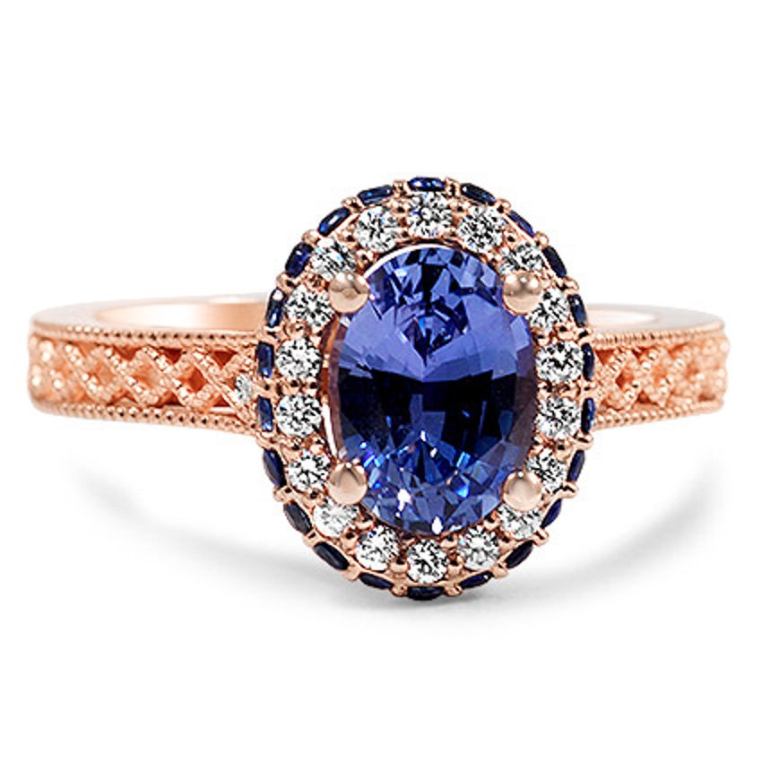 Custom Rose Gold Pave Sapphire Halo Ring
