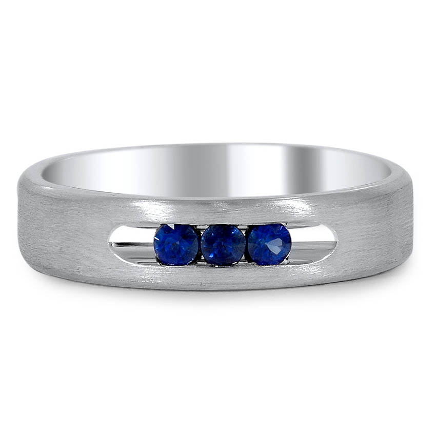 Custom Three Sapphire Matte Finish Men's Wedding Band