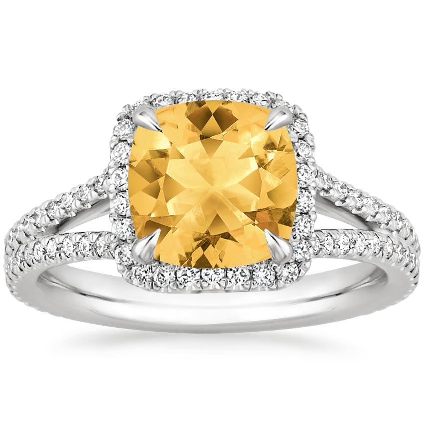 citrine fortuna ring in 18k white gold brilliant earth