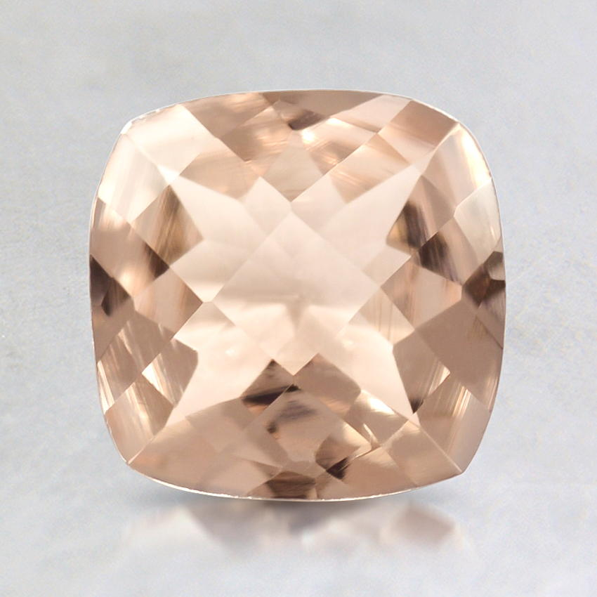 7mm Peach Cushion Morganite, top view
