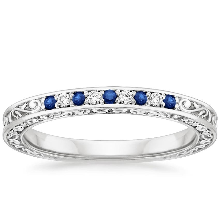 Delicate Antique Scroll Sapphire and Diamond Ring in Platinum