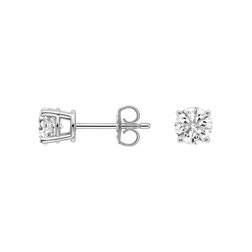 18K White Gold Round Diamond Stud Earrings (1/2 ct. tw.), top view