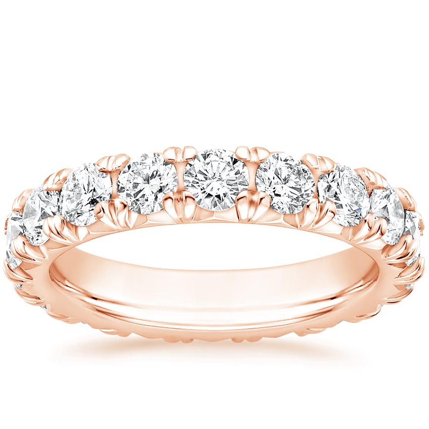 Rose Gold French Pavé Eternity Diamond Ring (3 ct. tw.)