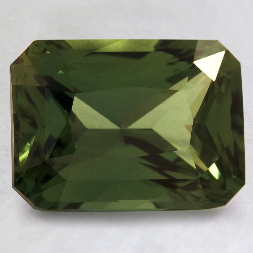 9.5x7mm Premium Green Radiant Sapphire, top view