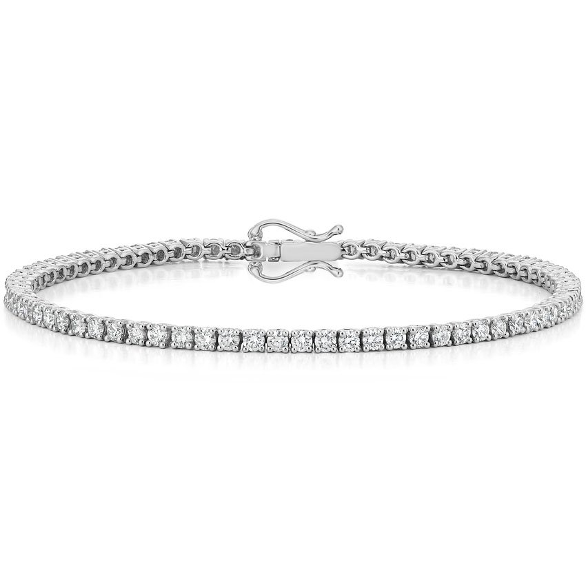 18k White Gold Certified Lab Created Diamond Tennis