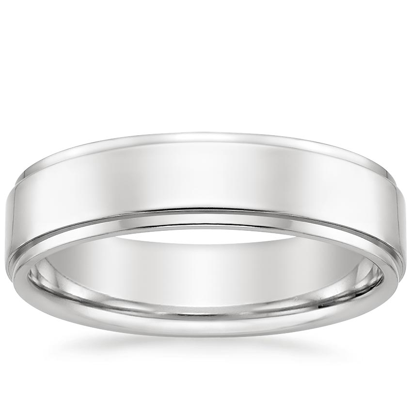 Modern Step Cut Wedding Ring