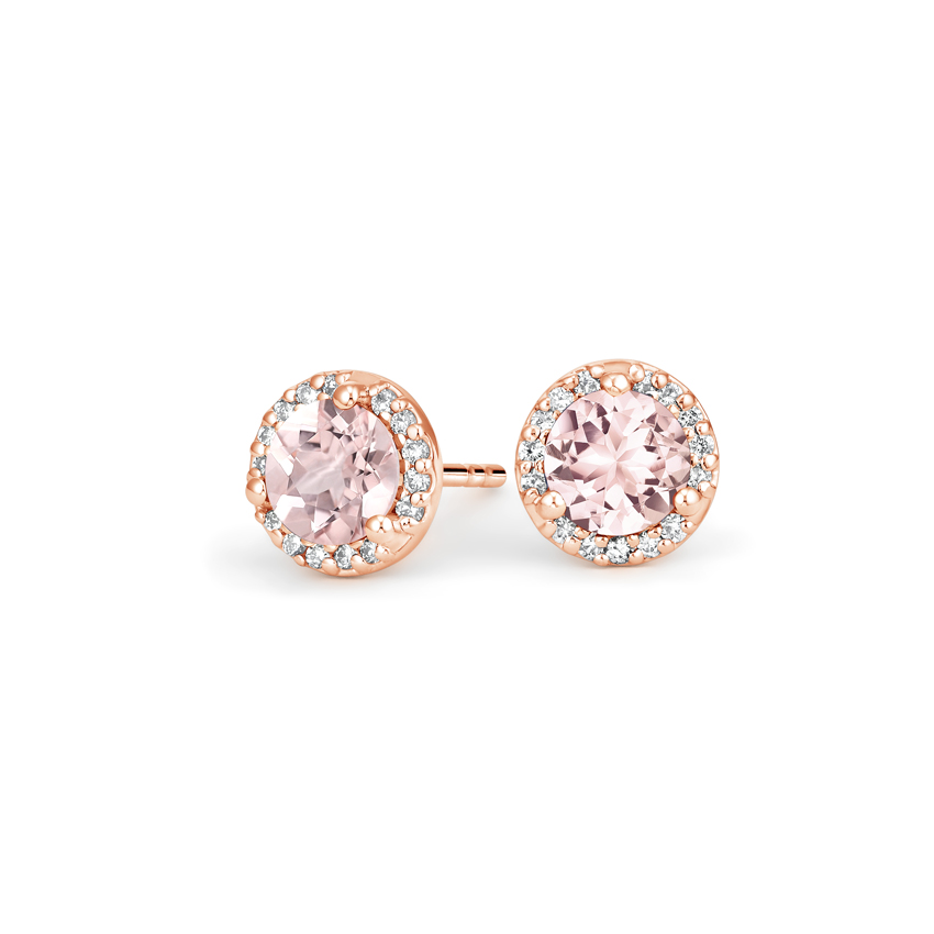 Morganite Halo Diamond Earrings in 14K Rose Gold 1996891552