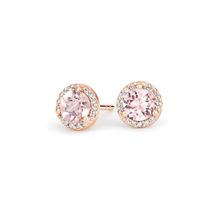 aa8ac161 14K Rose Gold Morganite Halo Diamond Earrings