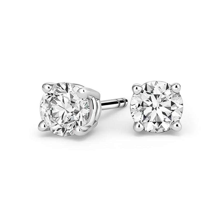 2197049a016e1 18K White Gold Round Diamond Stud Earrings (3 ct. tw.)