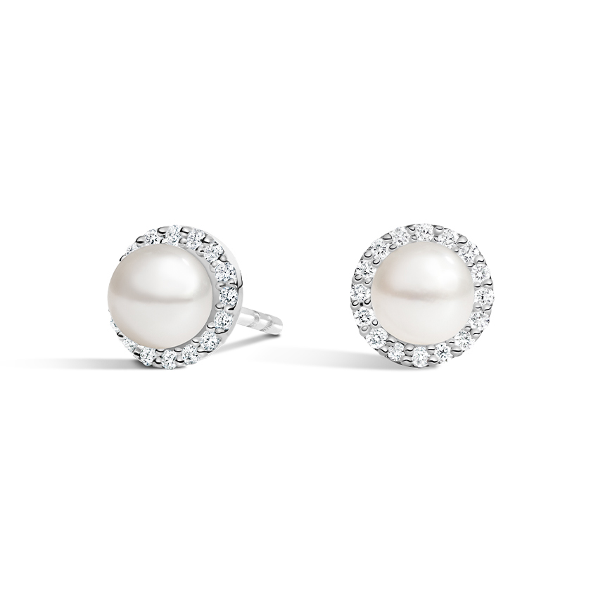 Pearl Halo Diamond Earrings