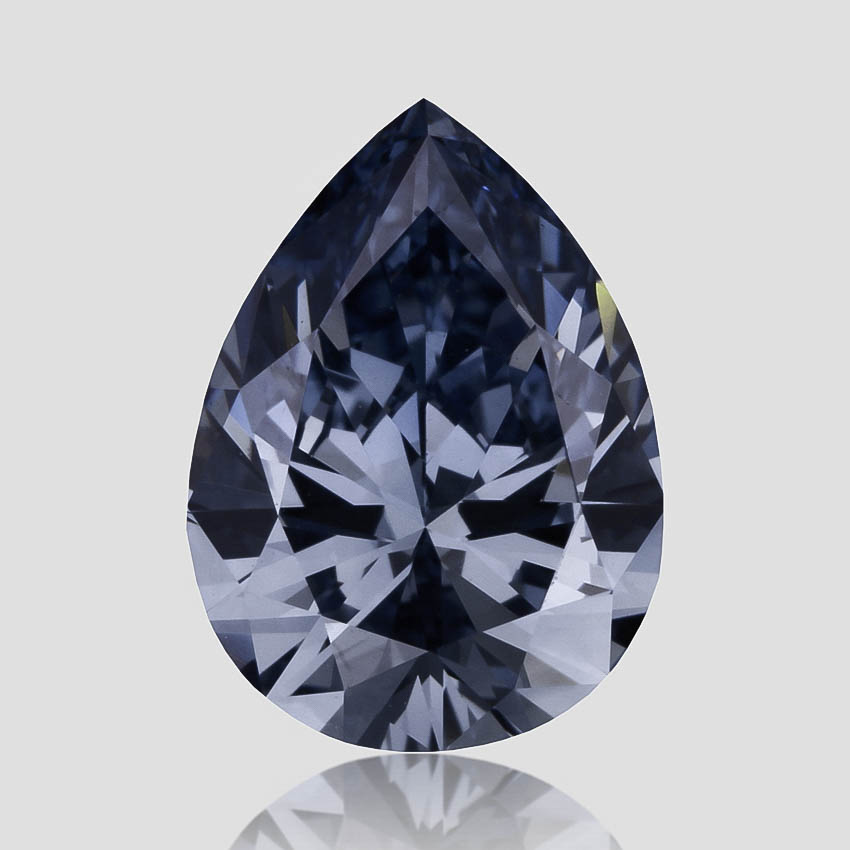 0.78 ct. Lab Created Fancy Intense Blue Pear Diamond, top view