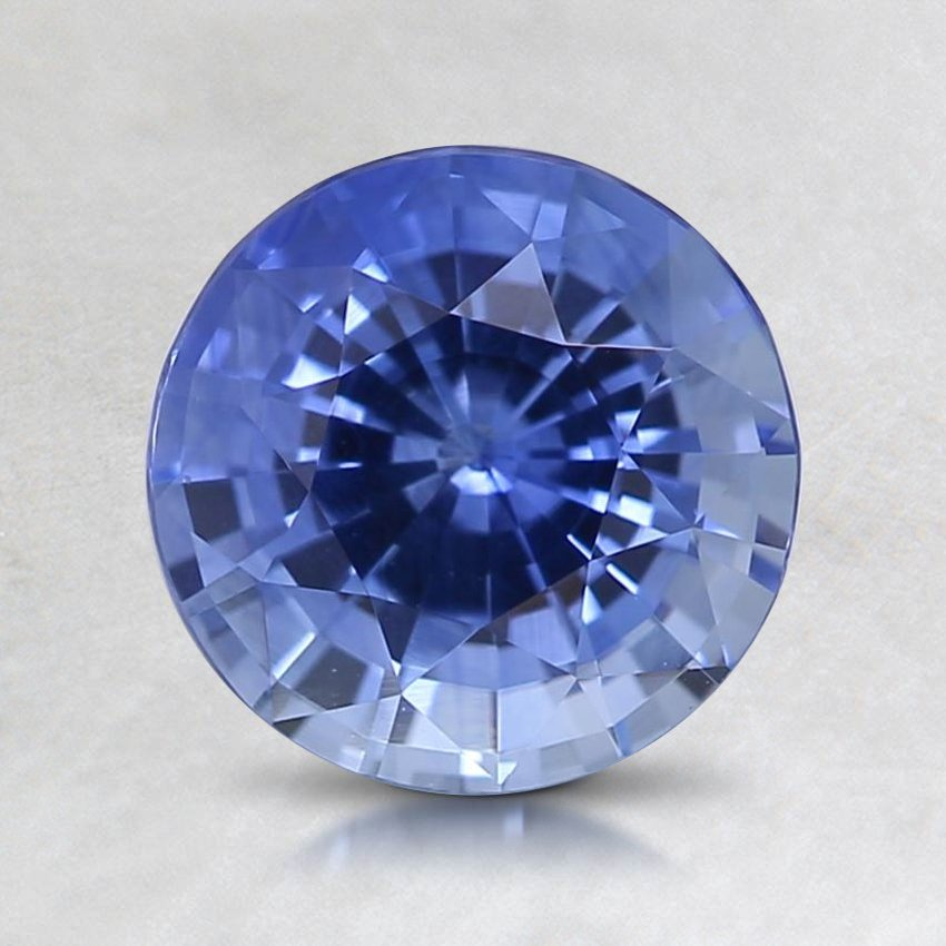 7mm Blue Round Sapphire, top view