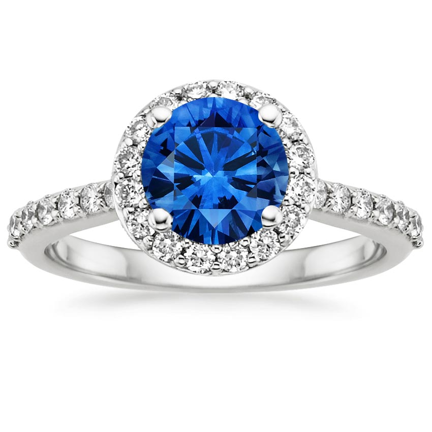 Platinum Sapphire Halo Diamond Ring with Side Stones (1/3 ct. tw.), top view