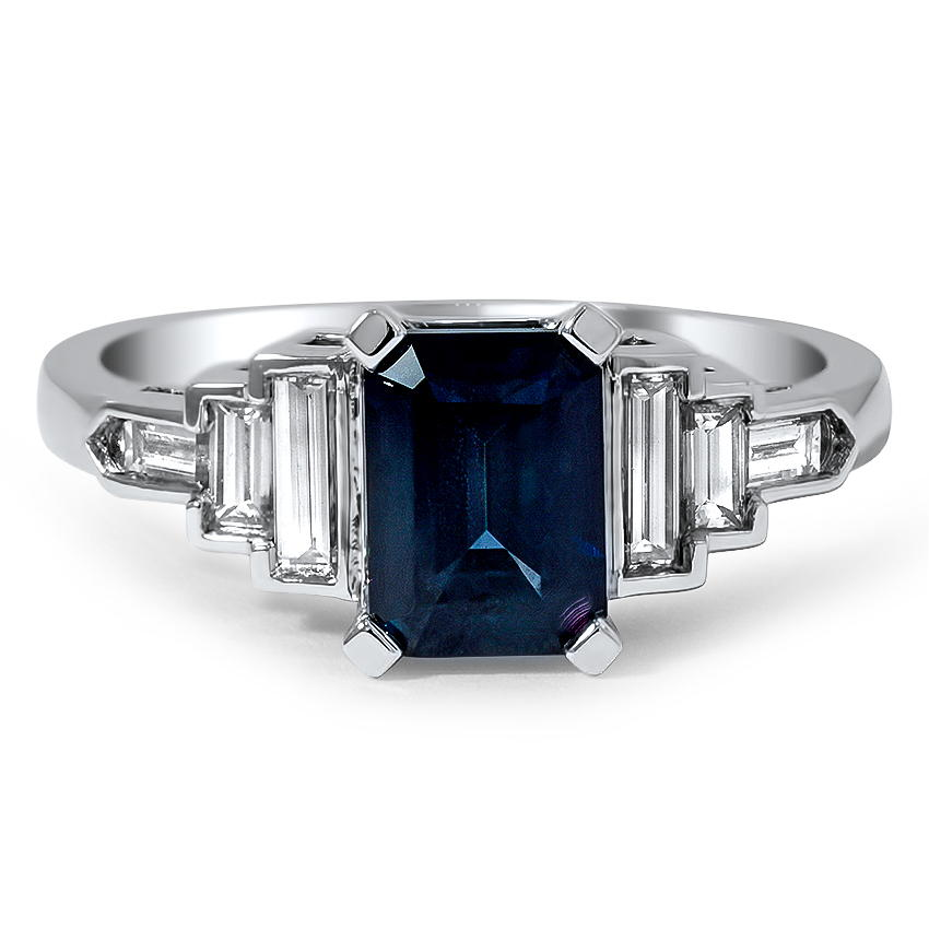 Custom Emerald Cut Sapphire and Diamond Baguette Ring
