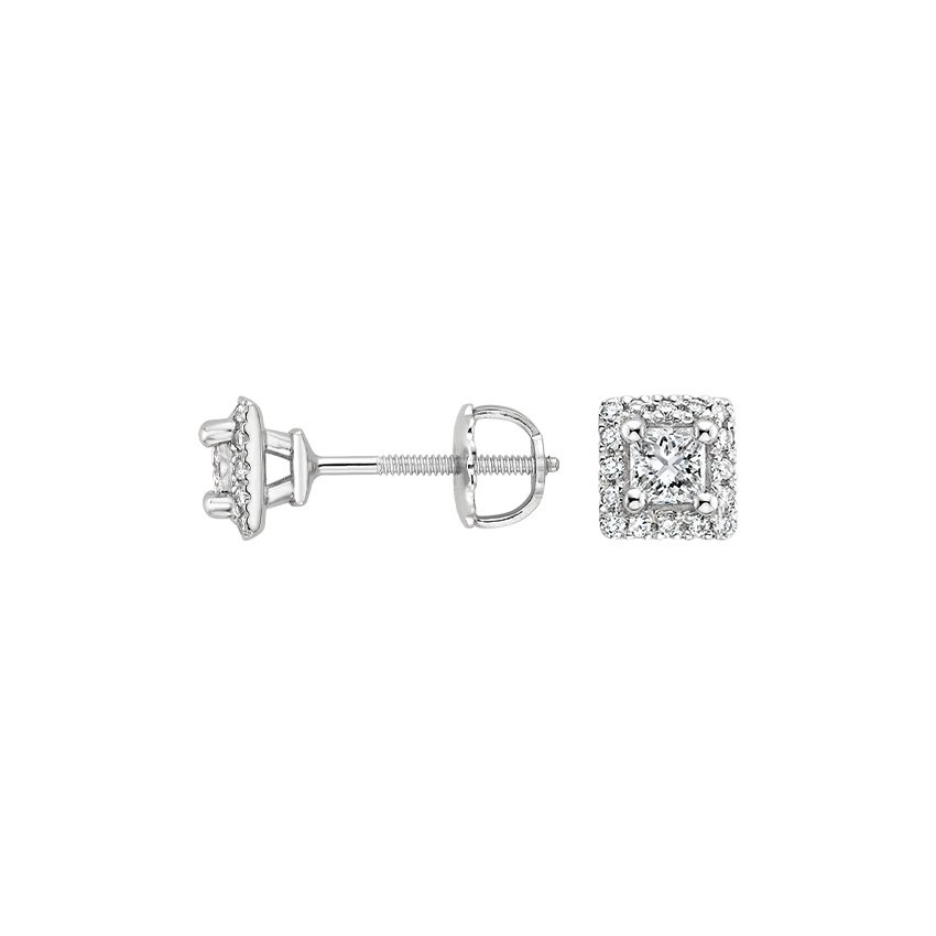 18K White Gold Princess Halo Stud Earrings (2/3 ct. tw.), top view