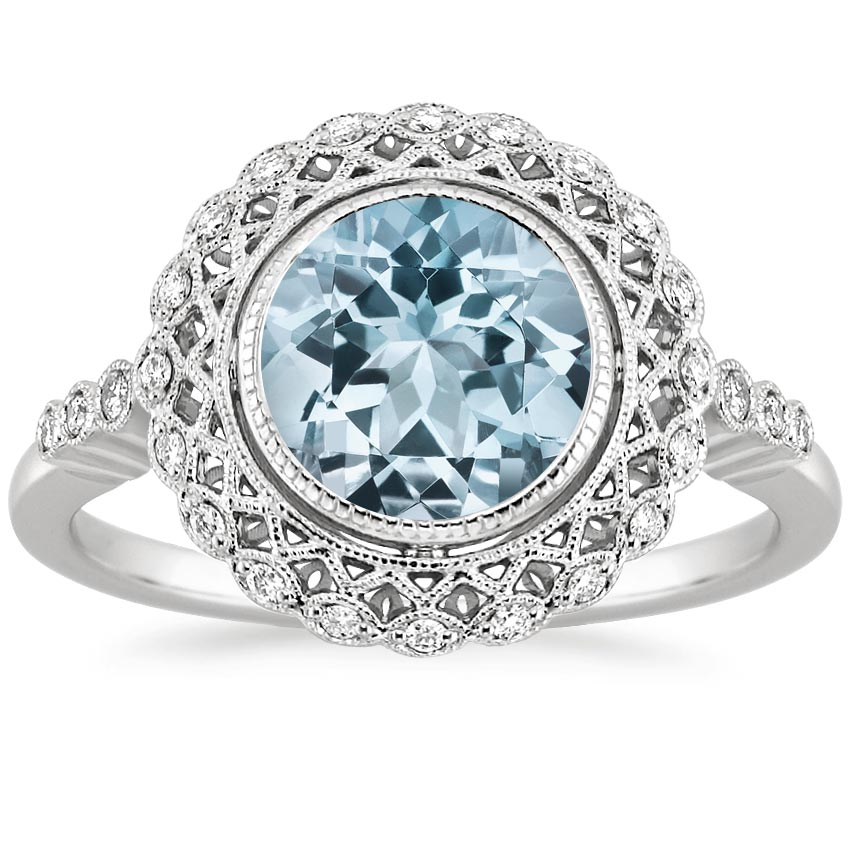 Aquamarine Alvadora Diamond Ring in 18K White Gold
