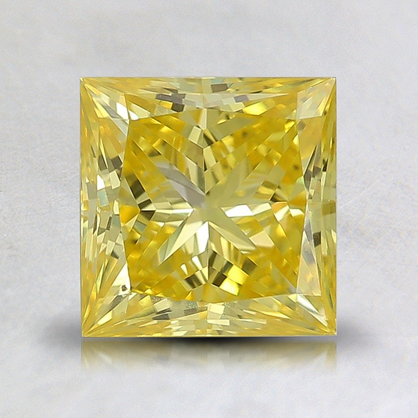 1.39 Ct. Fancy Vivid Yellow Princess Lab Created Diamond