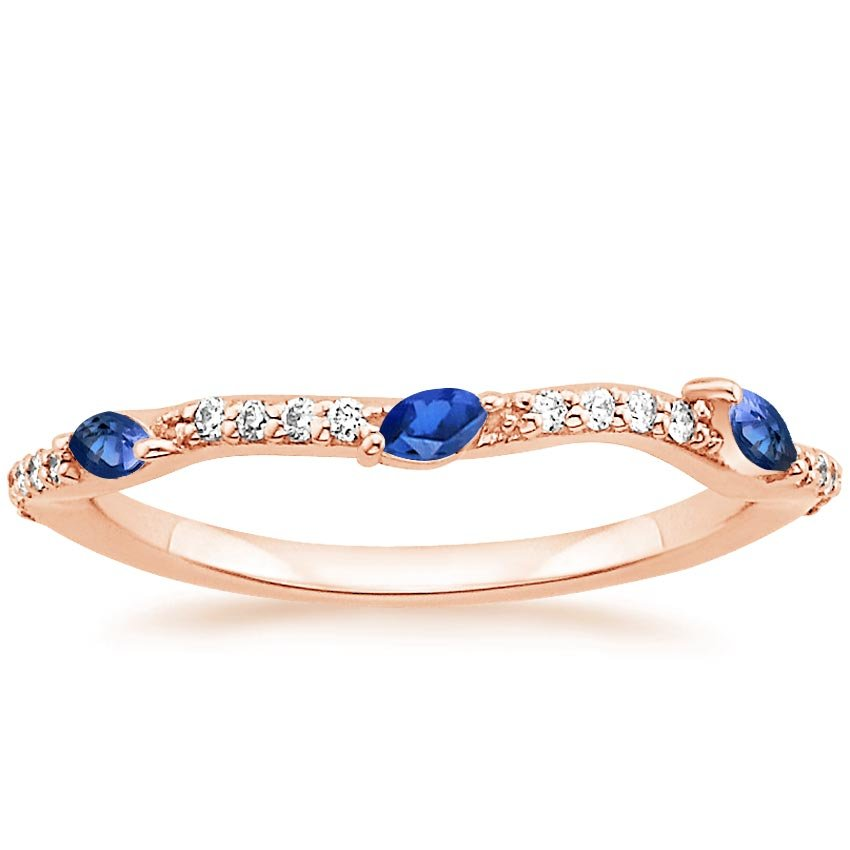 Rose Gold Luxe Willow Contoured Ring with Sapphire and Diamond Accents (1/10 ct. tw.)