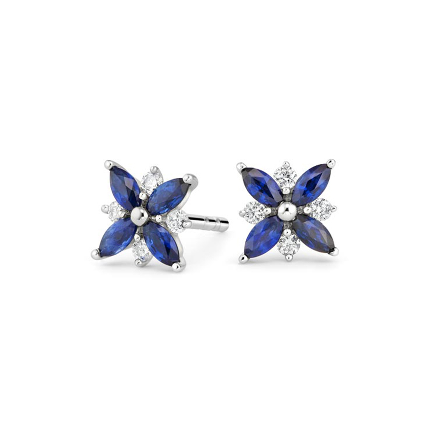 Sapphire and Diamond Petal Earrings in 18K White Gold