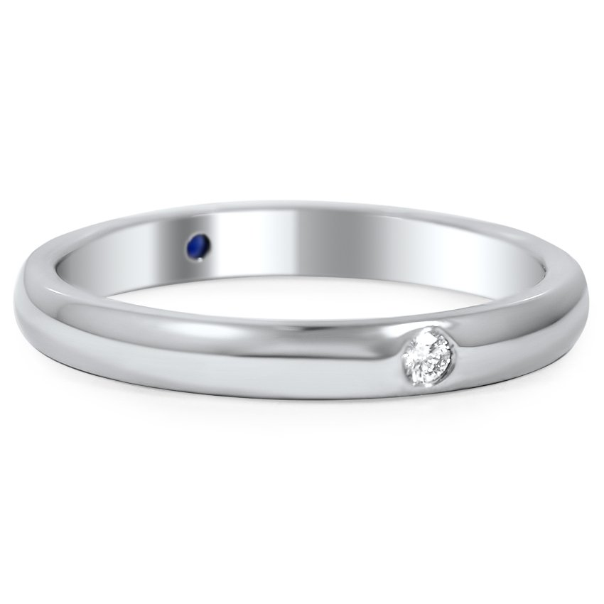 Custom Modern Sapphire and Diamond Wedding Ring