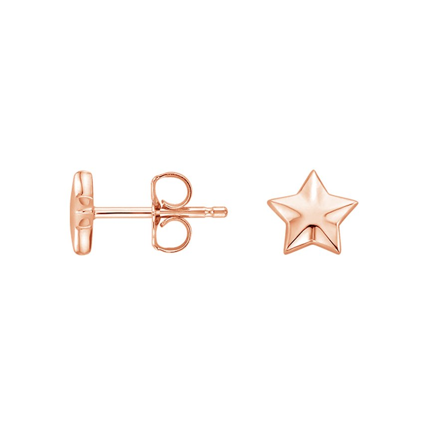 14K Rose Gold Star Stud Earrings, top view