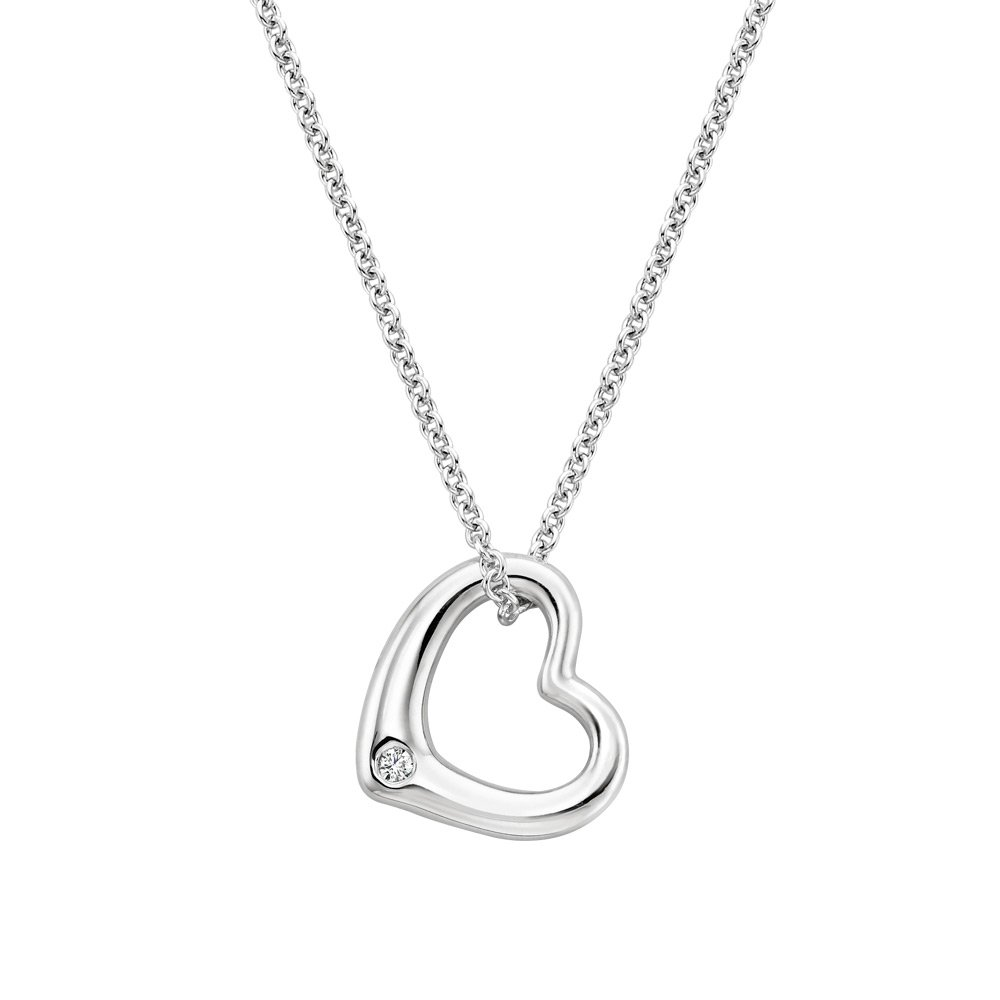 Heart Diamond Pendant in Silver