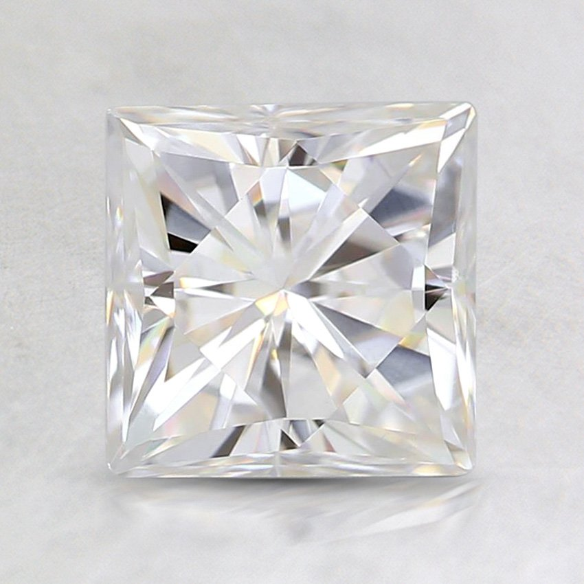6.5mm Premium Princess Moissanite, top view