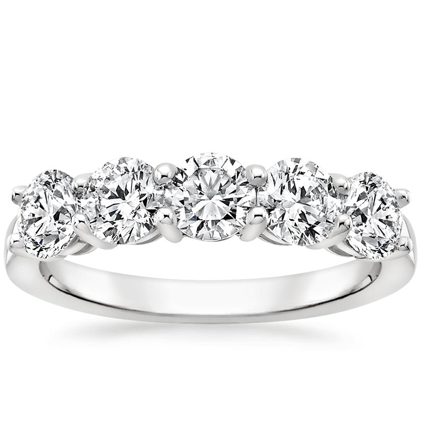Round Five Stone Lab Diamond Ring (1 1/2 ct. tw.) in 18K White Gold