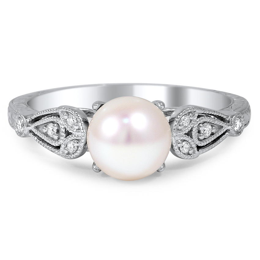Custom Engraved Pearl and Diamond Ring