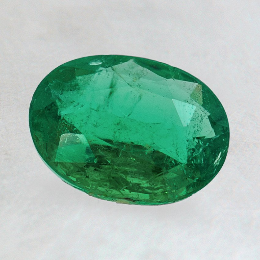 8x6mm Oval Emerald, top view