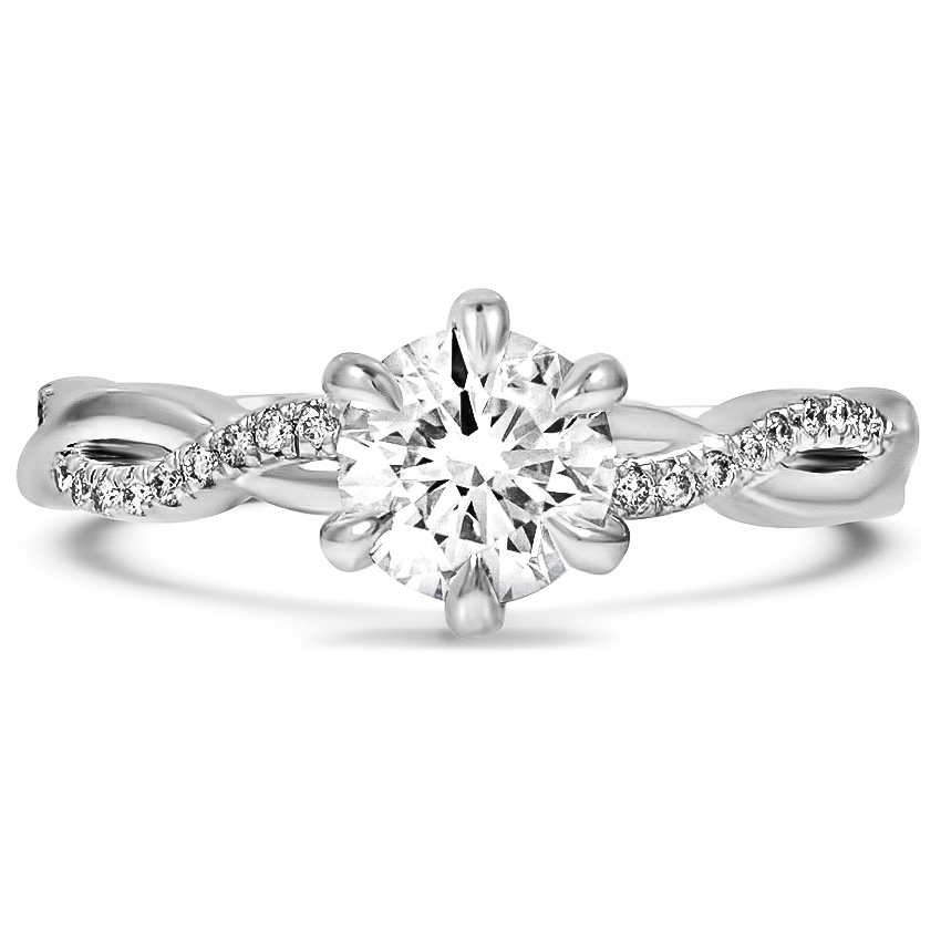 Custom Winding Six-Prong Diamond Ring